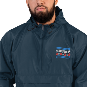 Trump 2020 Stars and Stripes Embroidered Champion Packable Jacket-champion embroidered packable jacket-PureDesignTees