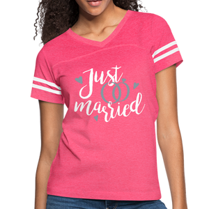 Just Married Women's Vintage Sport T-Shirt-Women's Vintage Sport T-Shirt-PureDesignTees