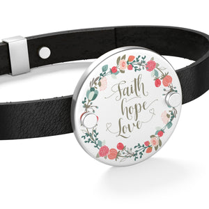 Faith Hope Love Leather Bracelet-Accessories-PureDesignTees