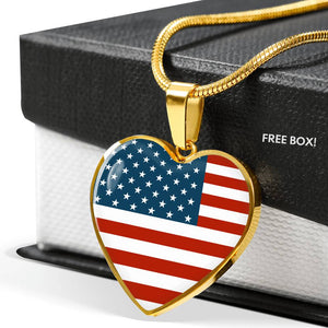 American Flag Heart Pendant Necklace