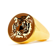 Load image into Gallery viewer, Brown Tiger Signet Ring-Ring-PureDesignTees