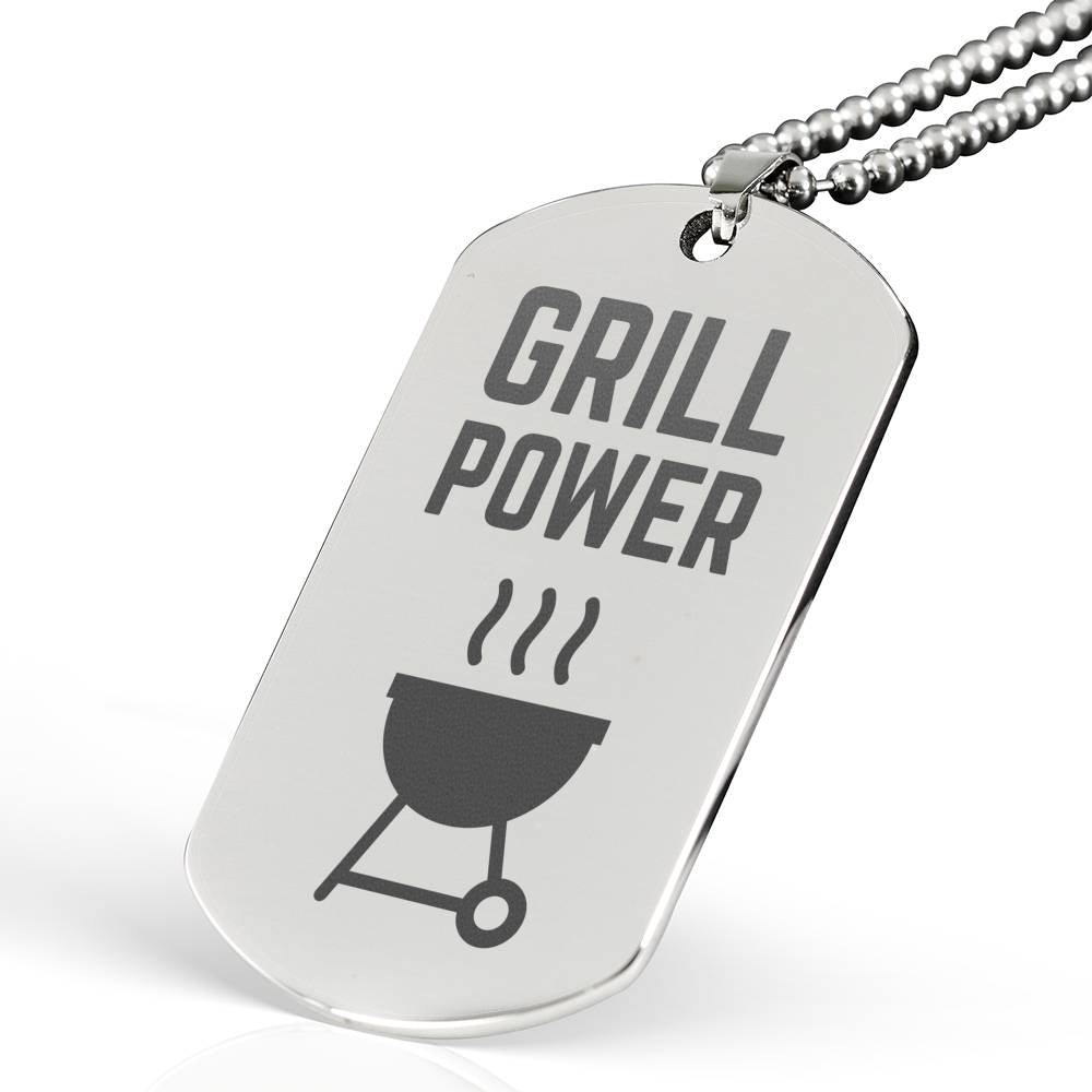 Grill Power Laser Engraved Stainless Steel Dog Tag