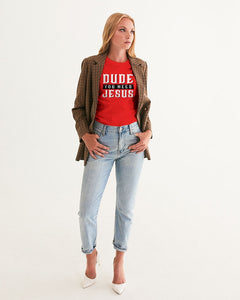 Dude You Need Jesus Women's Red Graphic Tee-cloth-PureDesignTees