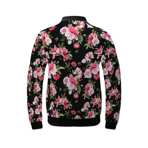 Peony Floral Print Women's Bomber Jacket-cloth-PureDesignTees