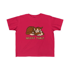Nappy Time! with Sleeping Cat Toddler Fine Jersey Tee-Kids clothes-PureDesignTees