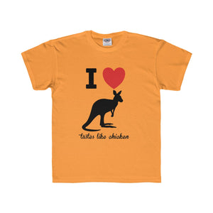 I Love Kangaroos, Taste Like Chicken Youth Regular Fit Tee-Kids clothes-PureDesignTees