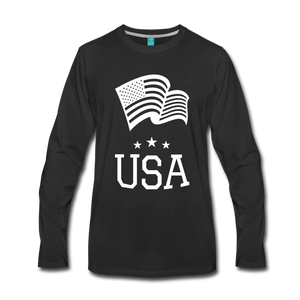 Flag and USA Men's Premium Long Sleeve T-Shirt-Men's Premium Long Sleeve T-Shirt-PureDesignTees