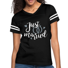 Load image into Gallery viewer, Just Married Women's Vintage Sport T-Shirt-Women's Vintage Sport T-Shirt-PureDesignTees