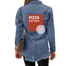 Load image into Gallery viewer, Pizza is My Cardio Women's Denim Jacket-Kids & Babies-PureDesignTees