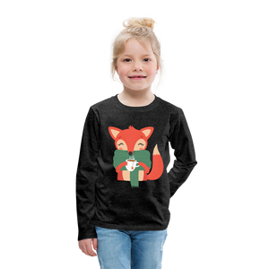 Fox Having Coffee Kids' Premium Long Sleeve T-Shirt-Kids' Premium Long Sleeve T-Shirt-PureDesignTees
