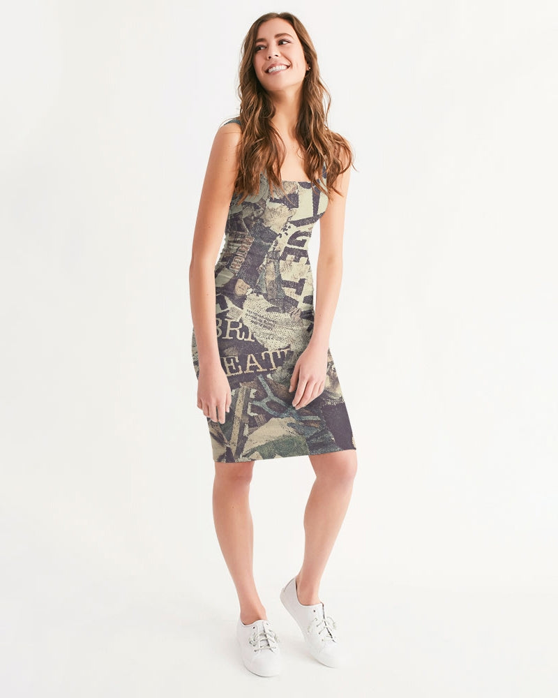 Newspaper Women's Midi Bodycon Dress-cloth-PureDesignTees