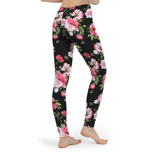 Peony Floral Print Women's Yoga Pant-cloth-PureDesignTees