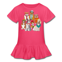 Load image into Gallery viewer, Smart Dogs Girl's Ruffle T-Shirt-Girl's Ruffle T-Shirt-PureDesignTees