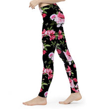 Load image into Gallery viewer, Peony Floral Print Women's Yoga Pant-cloth-PureDesignTees