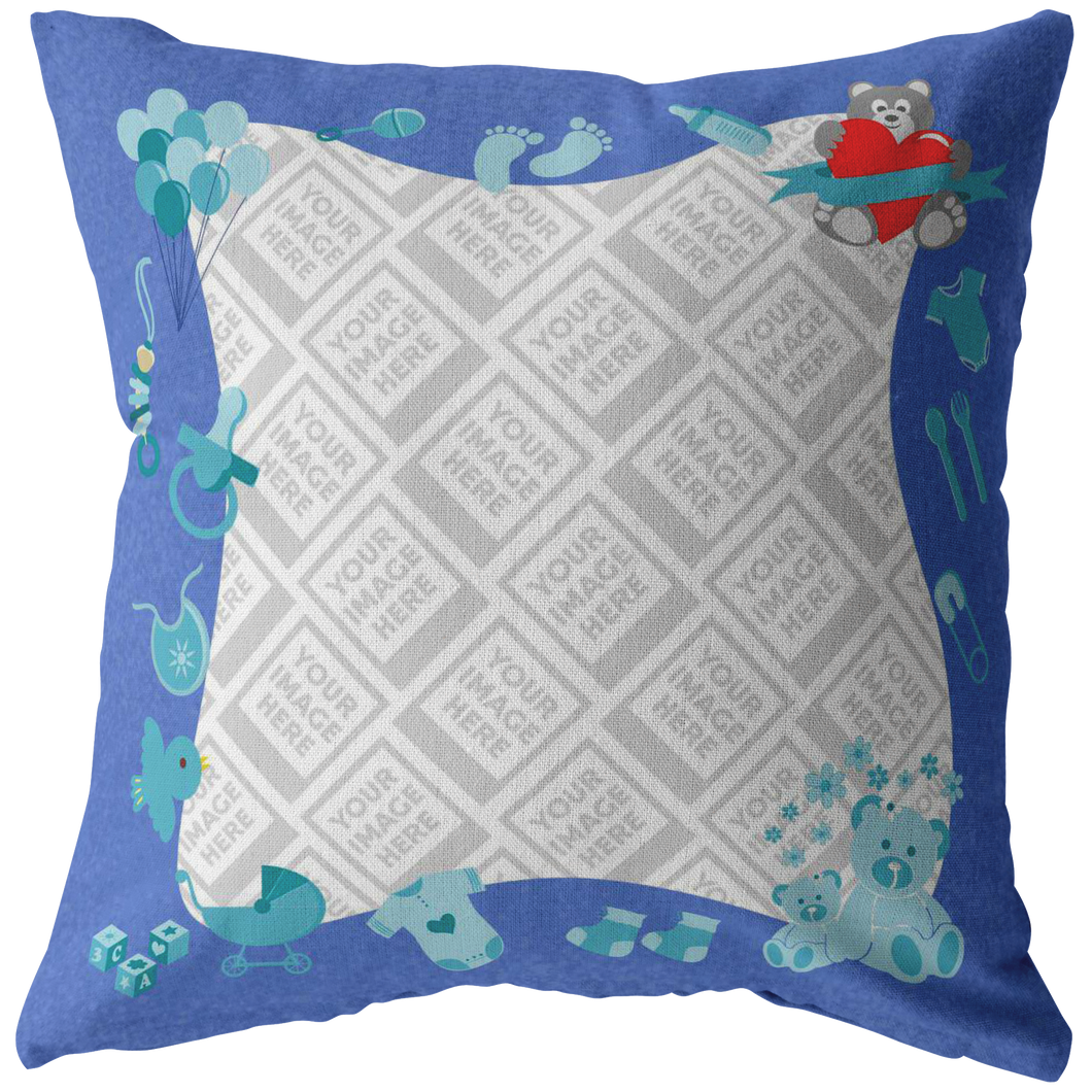 Baby Boy Personalized Throw Pillow-Pillows Multi Template-PureDesignTees