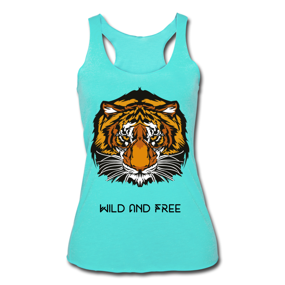 Wild and Free Tiger Women's Tri-Blend Racerback Tank-Women's Tri-Blend Racerback Tank-PureDesignTees