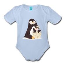 Load image into Gallery viewer, Cute Penguin and Baby Organic Short Sleeve Baby Bodysuit-Organic Short Sleeve Baby Bodysuit-PureDesignTees