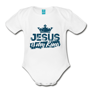 Jesus is My King Organic Short Sleeve Baby Bodysuit-Organic Short Sleeve Baby Bodysuit-PureDesignTees