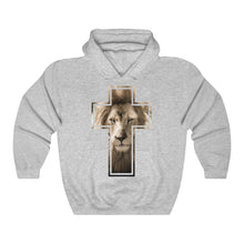 Load image into Gallery viewer, Lion Stare from the Cross Unisex Heavy Blend™ Hooded Sweatshirt-Hoodie-PureDesignTees