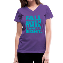 Load image into Gallery viewer, Fall Seven Times Stand Up Eight Women's V-Neck T-Shirt-Women's V-Neck T-Shirt-PureDesignTees
