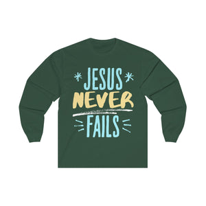 Jesus never FaIls Unisex Long Sleeve Tee-Long-sleeve-PureDesignTees
