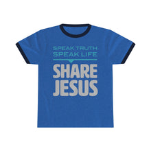 Load image into Gallery viewer, Speak Truth Speak Life Share Jesus Unisex Ringer Tee-T-Shirt-PureDesignTees