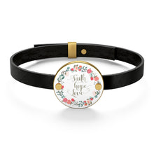 Load image into Gallery viewer, Faith Hope Love Leather Bracelet-Accessories-PureDesignTees