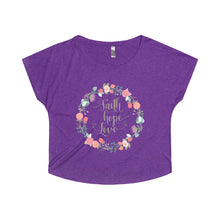 Load image into Gallery viewer, Faith Hope Love in a Lovely Floral Wreath Women's Tri-Blend Dolman - PureDesignTees
