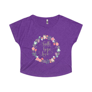 Faith Hope Love in a Lovely Floral Wreath Women's Tri-Blend Dolman - PureDesignTees
