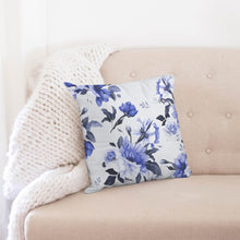 "Load image into Gallery viewer, Purple floral design Throw Pillow Case 18""x18""-home goods-PureDesignTees"