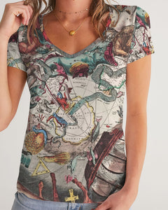 Stars Map Dark Women's V-Neck Tee-cloth-PureDesignTees