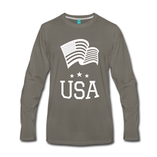Load image into Gallery viewer, Flag and USA Men's Premium Long Sleeve T-Shirt-Men's Premium Long Sleeve T-Shirt-PureDesignTees