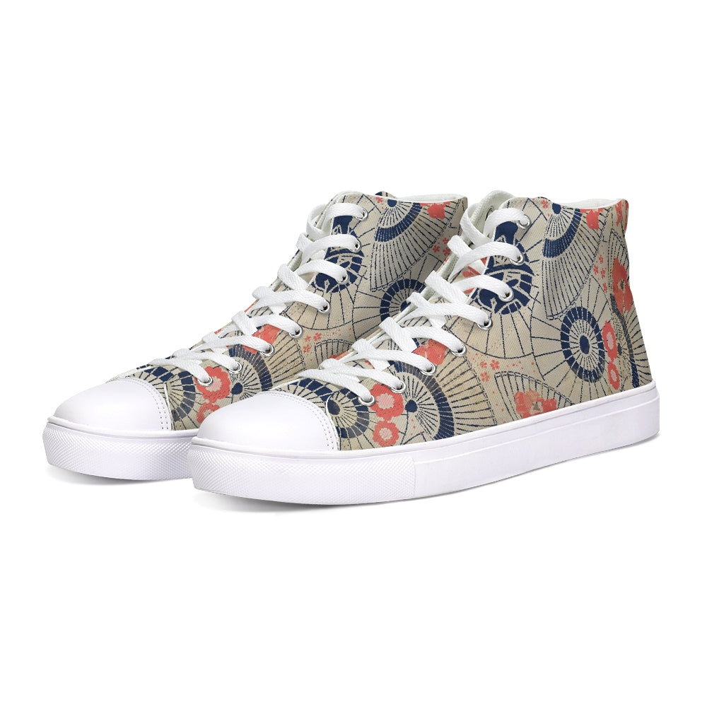 Antique Vintage Japanese Umbrella Pattern Design Hightop Canvas Shoe-shoes-PureDesignTees