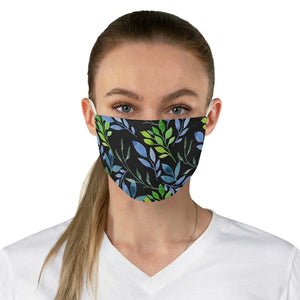 Watercolor Floral on Black Fabric Face Mask-Accessories-PureDesignTees