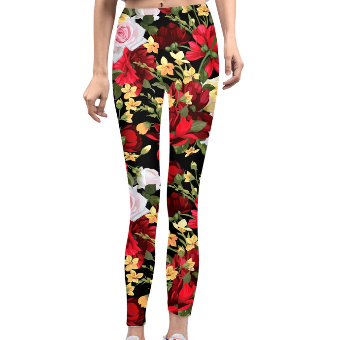 Flowers Women's Yoga Pant-cloth-PureDesignTees
