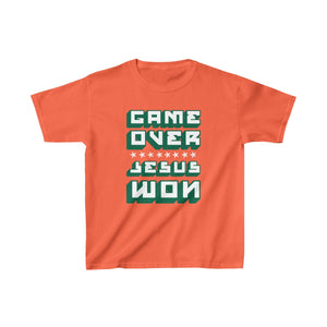 Game Over Jesus Won Kids Heavy Cotton™ Tee-Kids clothes-PureDesignTees