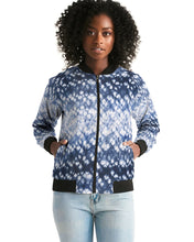 Load image into Gallery viewer, Blue Bokeh Tie Dye Women's Bomber Jacket-cloth-PureDesignTees