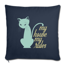 "Load image into Gallery viewer, My House My Rules Cat Throw Pillow Cover 18"" x 18""-Throw Pillow Cover 18"" x 18""-PureDesignTees"