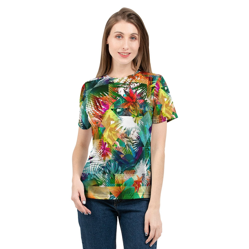 Tropical Color Riot Women's All Over Print Tee-cloth-PureDesignTees