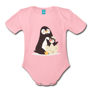 Cute Penguin and Baby Organic Short Sleeve Baby Bodysuit-Organic Short Sleeve Baby Bodysuit-PureDesignTees