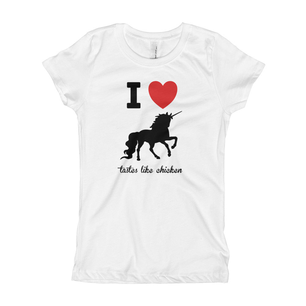 I Love Unicorns Tastes Like Chicken Girl's T-Shirt-T-Shirt-PureDesignTees