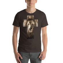 Load image into Gallery viewer, Lion Stare from the Cross Short-Sleeve Unisex T-Shirt-T-shirt-PureDesignTees