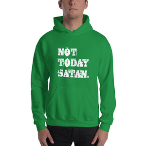 Not Today Satan Grunge Pullover Hooded Sweatshirt-Hoodie-PureDesignTees