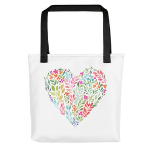 Classy Watercolor Floral Heart Tote bag-PureDesignTees