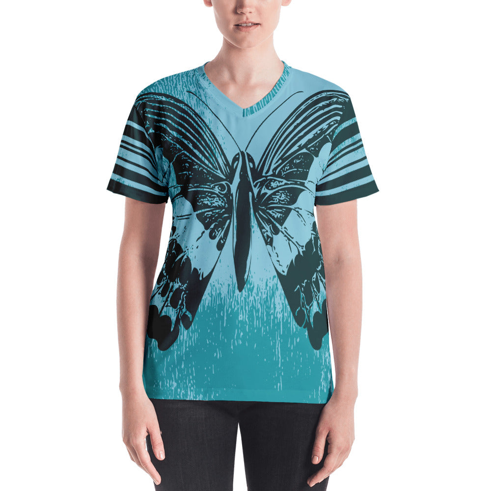 Giant Butterfly on Teal Women's V-neck-t-shirt-PureDesignTees