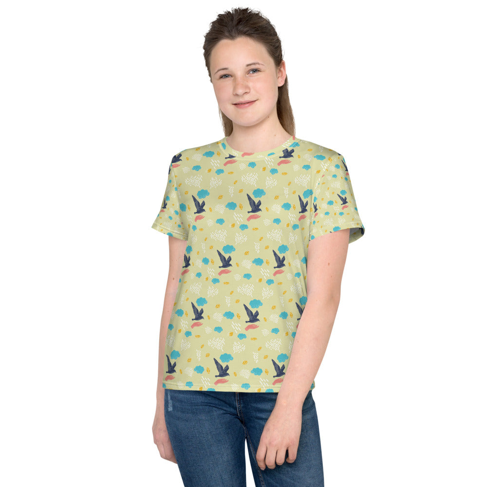 Free as a Bird Pattern Youth T-Shirt-youth all over print t-shirt-PureDesignTees