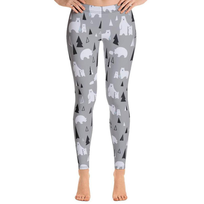 Polar Bear Winter Holiday Leggings-Leggings-PureDesignTees