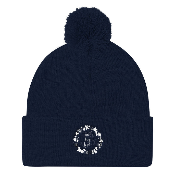 Faith Hope Love Pom Pom Knit Cap-Hats-PureDesignTees