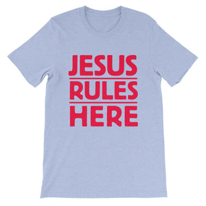 Jesus Rules Here Unisex short sleeve t-shirt-T-Shirt-PureDesignTees