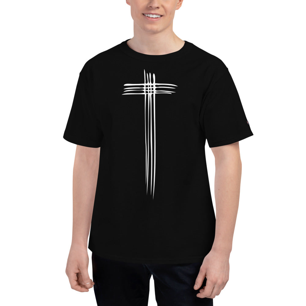 Sketch Cross Men's Champion T-Shirt-Champion T-shirt-PureDesignTees
